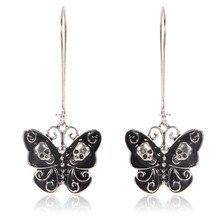 1 par de pendientes de moda Vintage para fiesta de boda, accesorios de joyería, negro Punk gótico, mariposa, Calavera, Pendientes colgantes para mujer