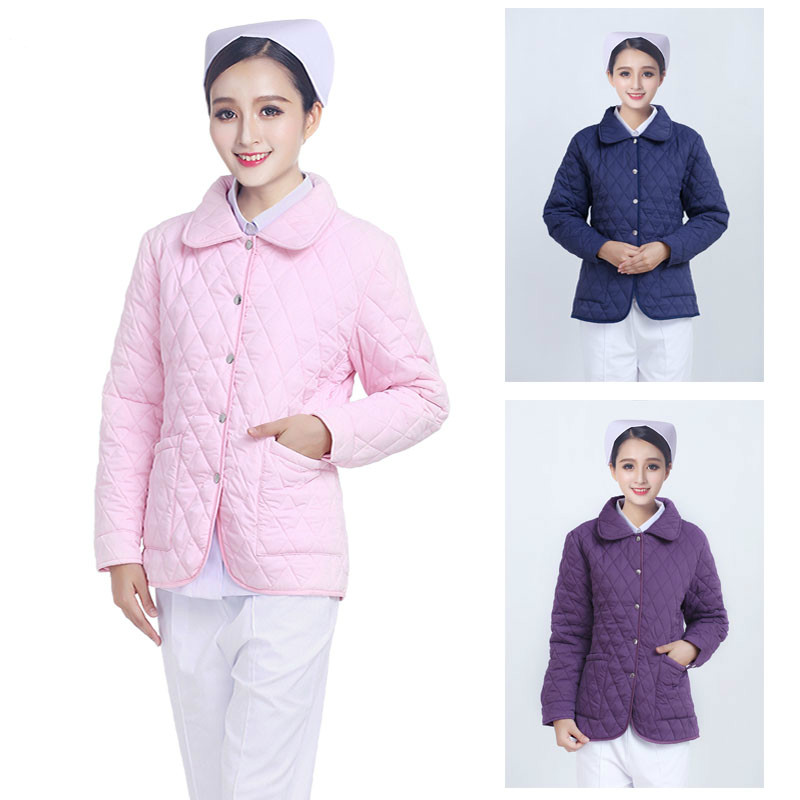 According To The Angel Long Sleeve Warm Nurse Cotton Padded Jacket On Duty Cotton Padded Jacket Cardigan Short Cold Proof Doctor