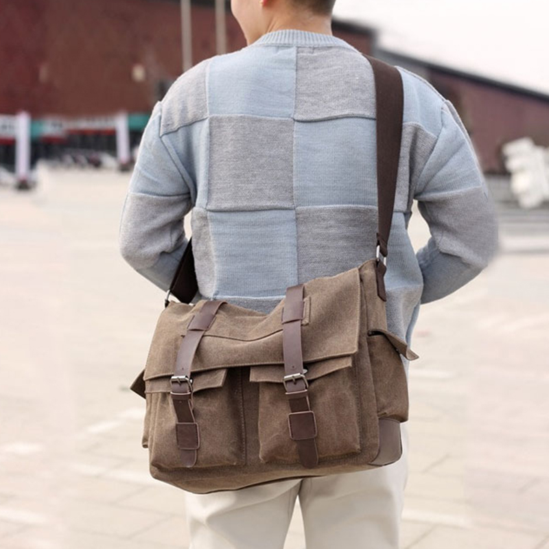 Scione Men's Vintage Canvas Bag Men Casual Crossbody Bag For Men Messenger Bag Man Travel Black Bags High Quality 2020