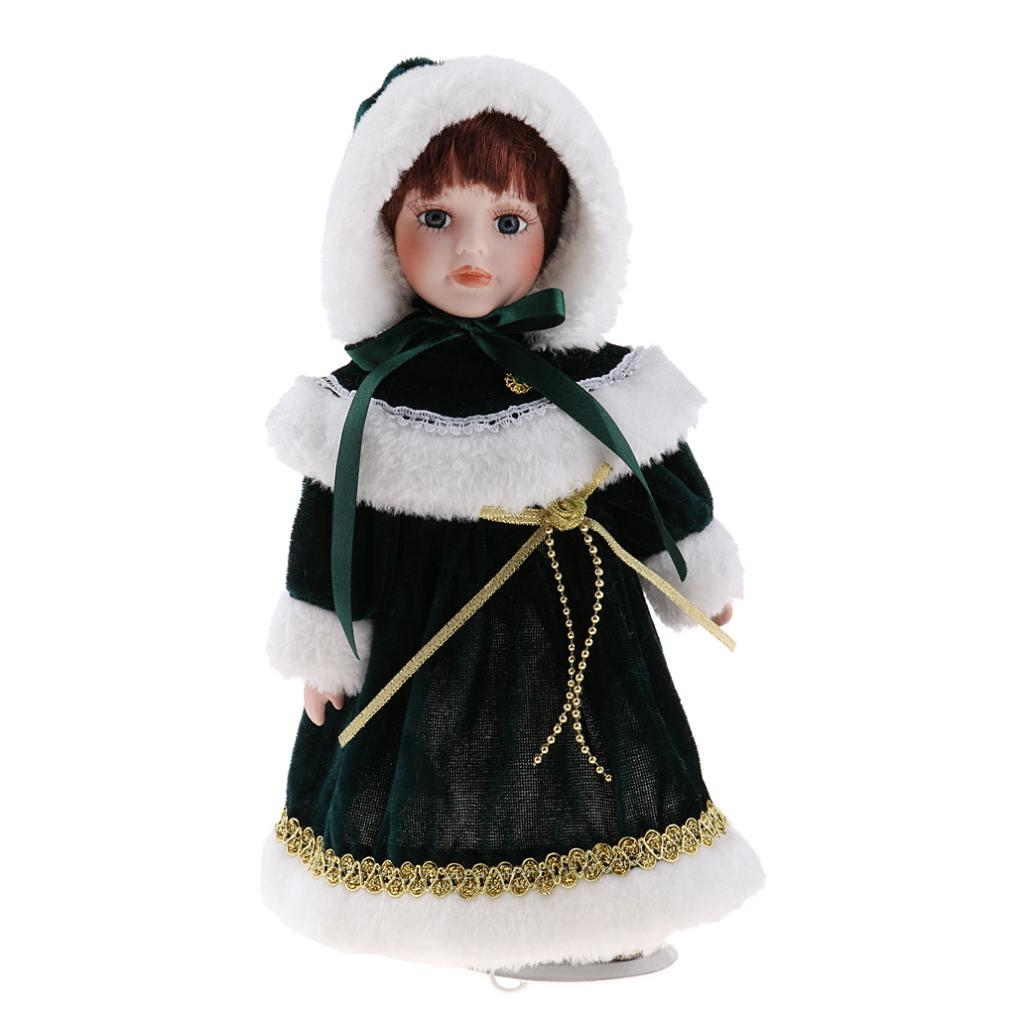 Handmade 12inch Victorian Porcelain Doll with Stand, People Figures in Green Plush Clothes Hat, Children Gift, Home Decoration