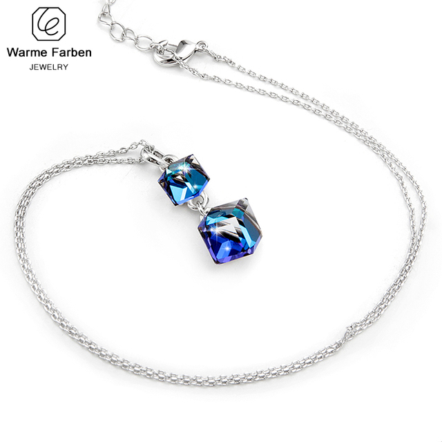 Embellished with Crystal from Swarovski Women Necklace Square Double Crystal Cube Pendant Necklace Fashion Jewelry Female Collar