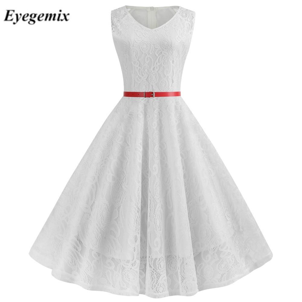 Elegancka szczupła koronkowa sukienka kobiety lato dorywczo bez rękawów biały Vintage-line Midi sukienki biurowe szata Femme Plus rozmiar S ~ 2XL