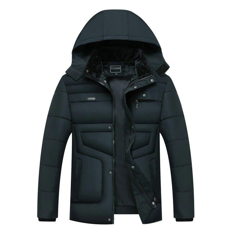 Streetwear Winter Parka With Hood 2019 Casual Jacket Men's Windbreaker Warm Thicken -20 Degree Solid Cotton-padded Overcoat