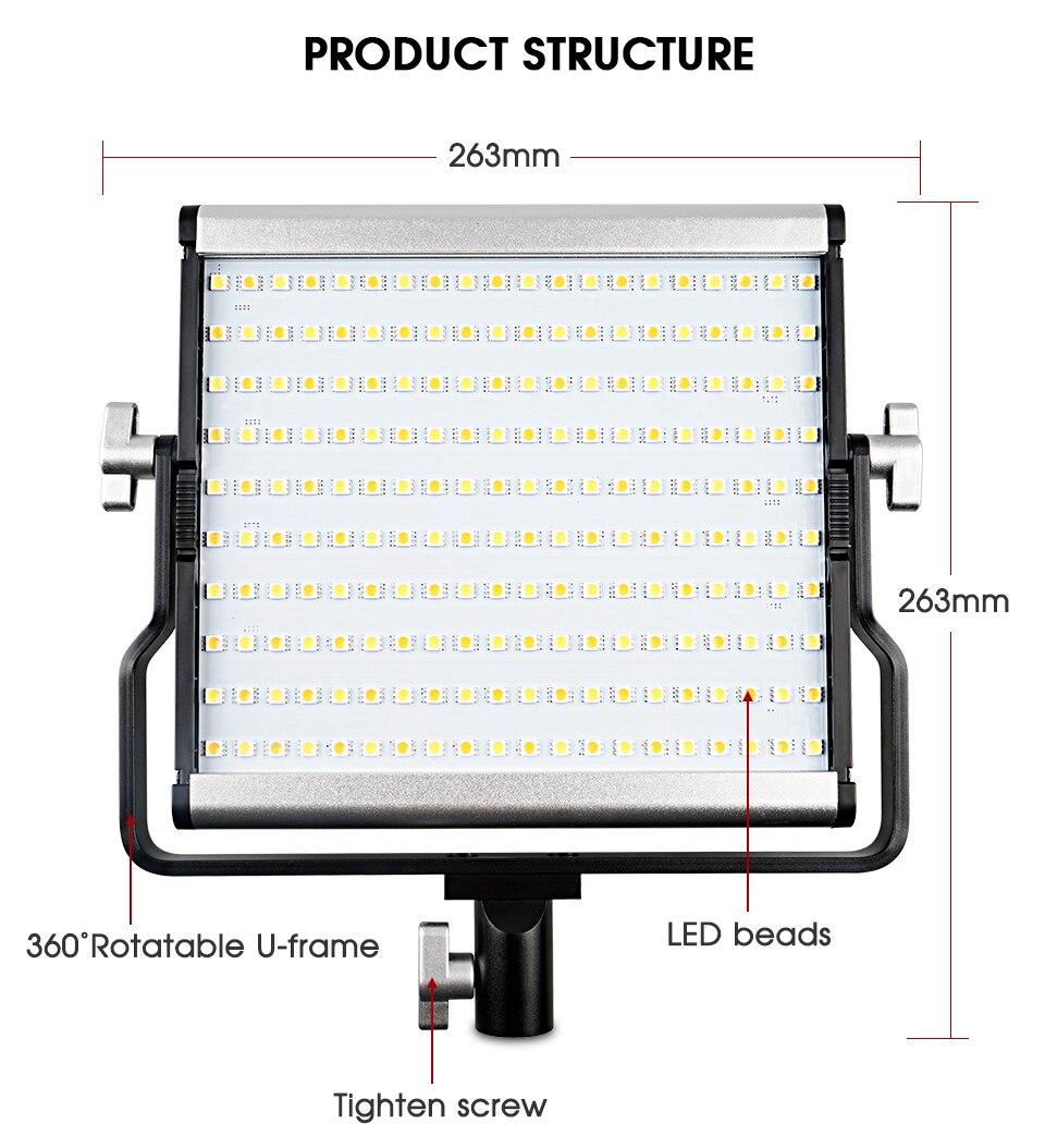 Hae0454d60a36463084beb4dd003347f8u Travor Dimmable Bi-color 2set LED Video Light Kit with U Bracket 3200K-5600K CRI96 and Bag for Studio Photography Video Shooting