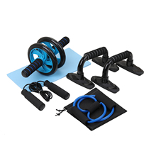 Abdominal Press Wheel Pro with Push-UP Bar Jump Rope and Knee Pad Portable Equipment 5-in-1 AB Kit Spring Exerciser