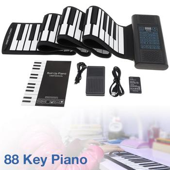 Electronic Piano 88 Keys Roll Up Rechargeable Silicone Flexible Keyboard Organ Built-in 2 Speakers Support MIDI Bluetooth