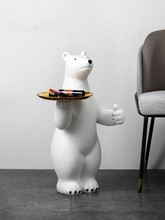 White Creative polar bear statue resine sculpture animal Decorative statue in living room Souvenir ornaments rituals decoration