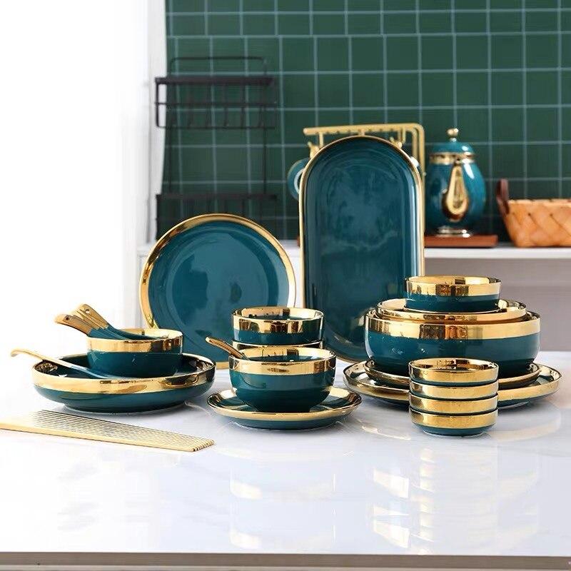 Ensemble d'assiettes à dîner en céramique | De luxe européen soucoupe aromatisée or Phnom Penh assiette de logement profonde 8/10 pouces cuillère à soupe