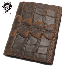 Crocodile Style Series Genuine Leather Wallet Credit Card Passport Case For Travelling Men Card Holder