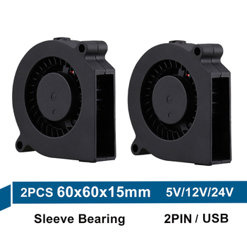 2PCS Gdstime 6015 60mm DC 24V 12V 5V Sleeve Brushless Turbo Blower Fan 6cm 60mm x 15mm Blower Cooler Fan for 3D Printer Parts 2pcs 5015 50mm dc 24v 12v 5v 2pin ball sleeve bearing brushless cooling turbine blower fan 50mm x 15mm blower cooler fan