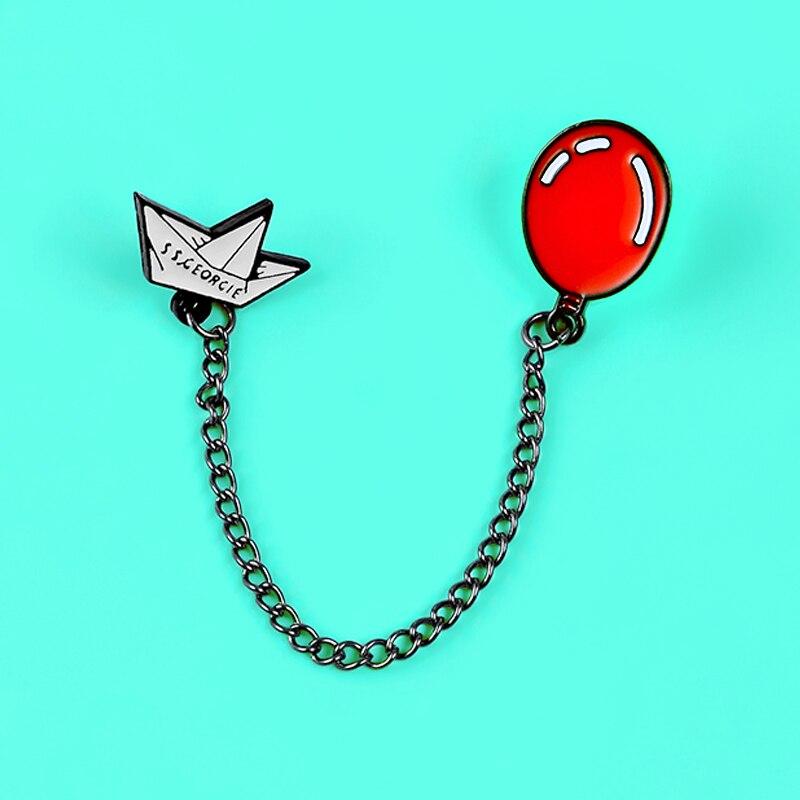 Эмалированные булавки с мультипликационным принтом SS Джорджи, красный шар, бумажная цепочка для лодки, броши, клоун, Стивен Кинг, Значки для ...