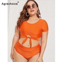 2020 חדש סקסי בתוספת גודל בגדי ים נשים ביקיני גבוה מותניים בגד ים לדחוף את ביקיני סט מוצק בגד ים וחוף שחייה חליפה