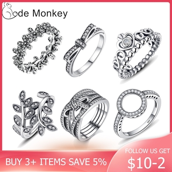 CodeMonkey 100% 925 Sterling Silver Rings  Wholesale Popular Flower Lucky Rings For Women Jewelry Making Dorpshipping R7220 1