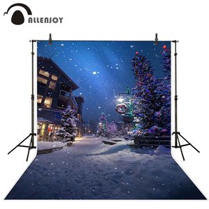 Image 1 - Allenjoy Christmas New Years garlands photography backdrop winter tree night street lamp snowflake path background photophone