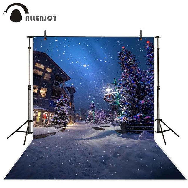 Allenjoy Christmas New Years garlands photography backdrop winter tree night street lamp snowflake path background photophone