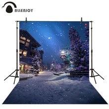 Allenjoy Kerstmis Nieuwjaar slingers fotografie achtergrond winter boom night street lamp sneeuwvlok path achtergrond photophone