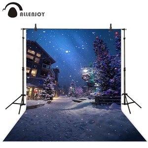 Image 1 - Allenjoy 크리스마스 새해 garlands 사진 배경 겨울 나무 밤 거리 램프 눈송이 경로 배경 photophone