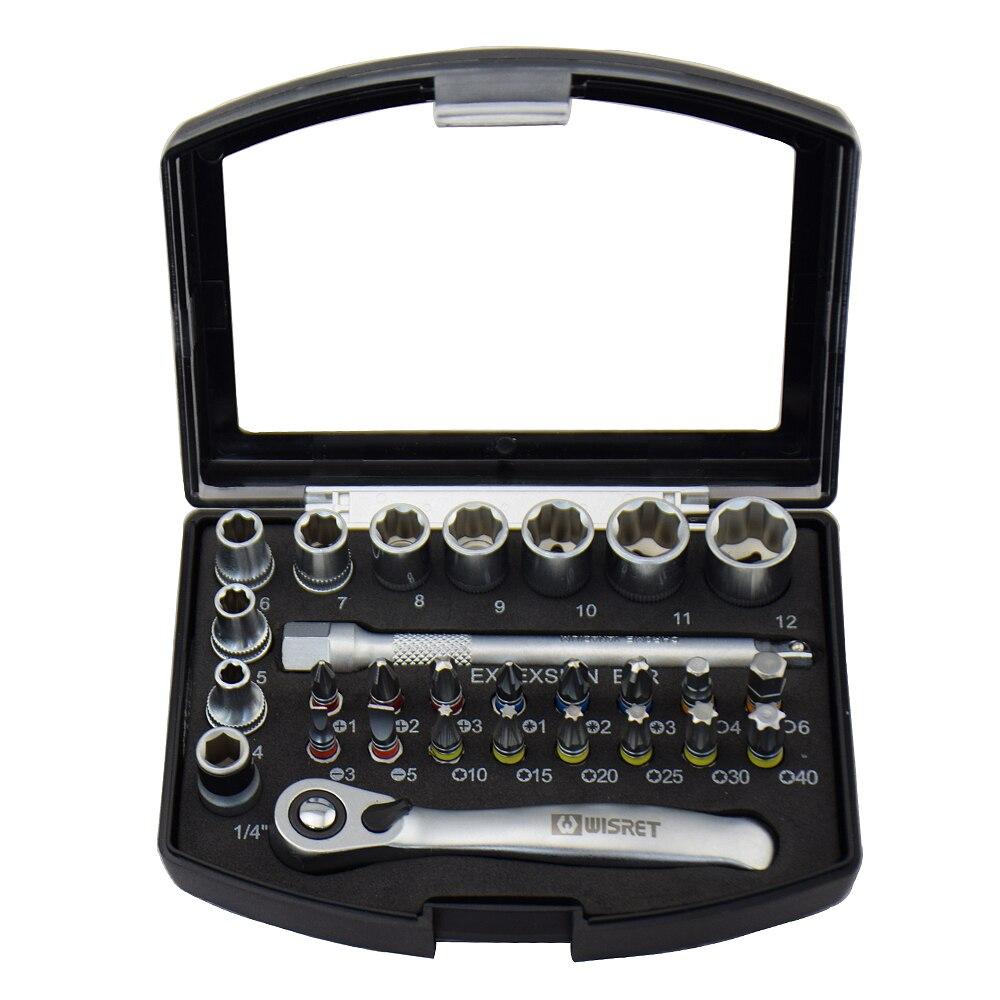 28PCS Industrial Mini juego de llaves de trinquete de 1/4 juego de - Juegos de herramientas - foto 3