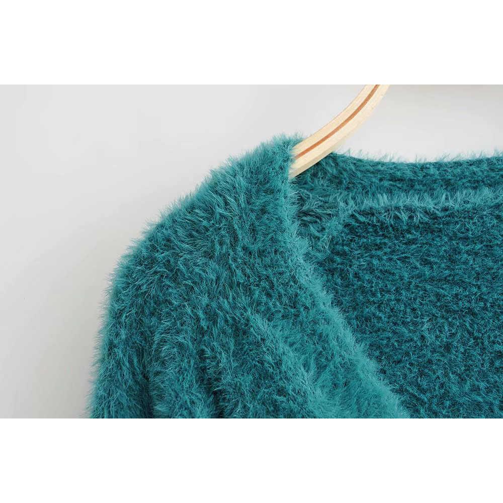 패션 za 여성 스웨터 2019 가을 솔리드 v-목 세련된 싱글 브레스트 카디건 긴 소매 느슨한 니트 스웨터 여성 숙녀