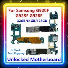 สำหรับSamsung Galaxy S6 G920Fเมนบอร์ดS6 Edge G925Fเมนบอร์ดS6 Edge + G928Fเมนบอร์ด32/64/128gbสต็อกบอร์ด