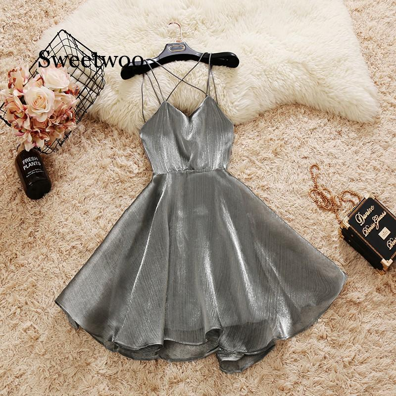 Summer Cross Strap Organza Puff Dresses Women Sleeveless Backless Elegant Ball Gown Party Dress Black White Silver Red