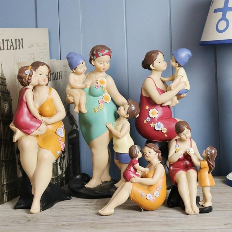 American mère et enfant amour série de personnages ornements famille chaude résine artisanat décoration maison fête des mères cadeaux