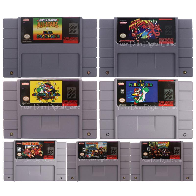 16 Bit Video Game Cartridge Console Card Donke Kong Mari Series USA English Language US Version For Nintendo SFC SNES