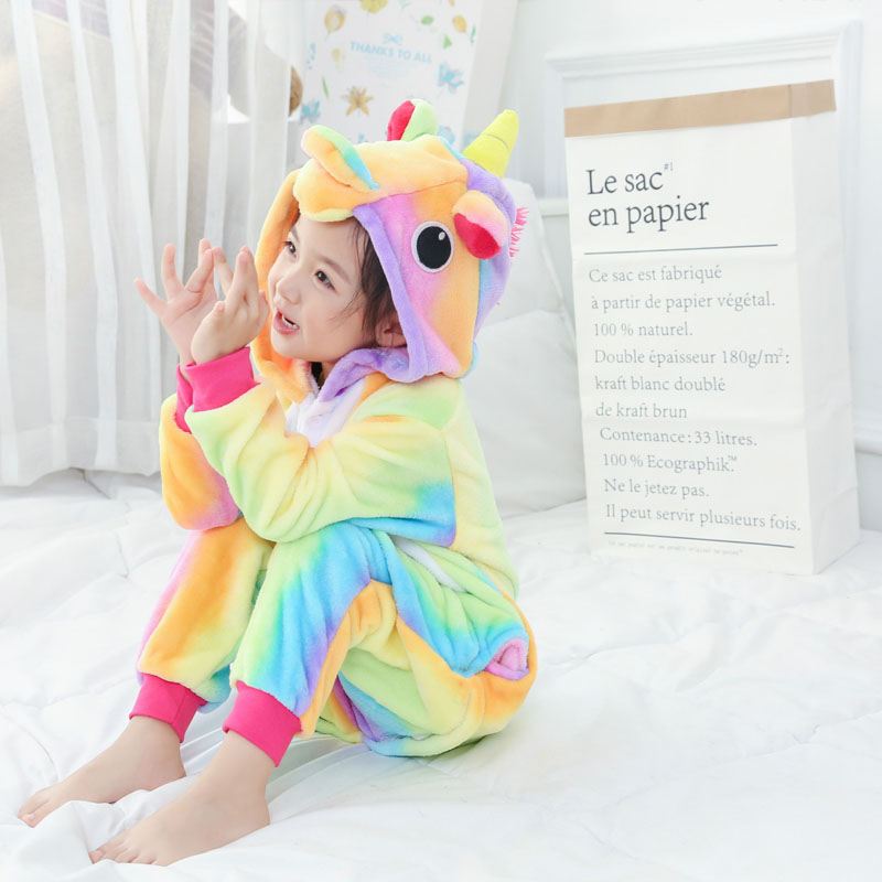 Rainbow Unicorn Children Pajama For Girls Boys Onesie Flannel Children's Pajamas Kigurumi  Animals  Sleepwear Kids Pyjamas 4-12T