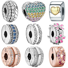 2020 Hot Sale New 925 Sterling Silver Sparkling Heart Clip Charms Beads Snake Charm Fit Original Pandora Bracelet Jewelry Gift