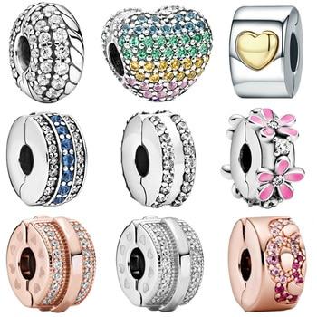 2020 gorąca sprzedaż nowy 925 Sterling srebrna iskrząca serce klip wisiorki koraliki wąż urok pasuje oryginalny bransoletka Pandora biżuteria prezent