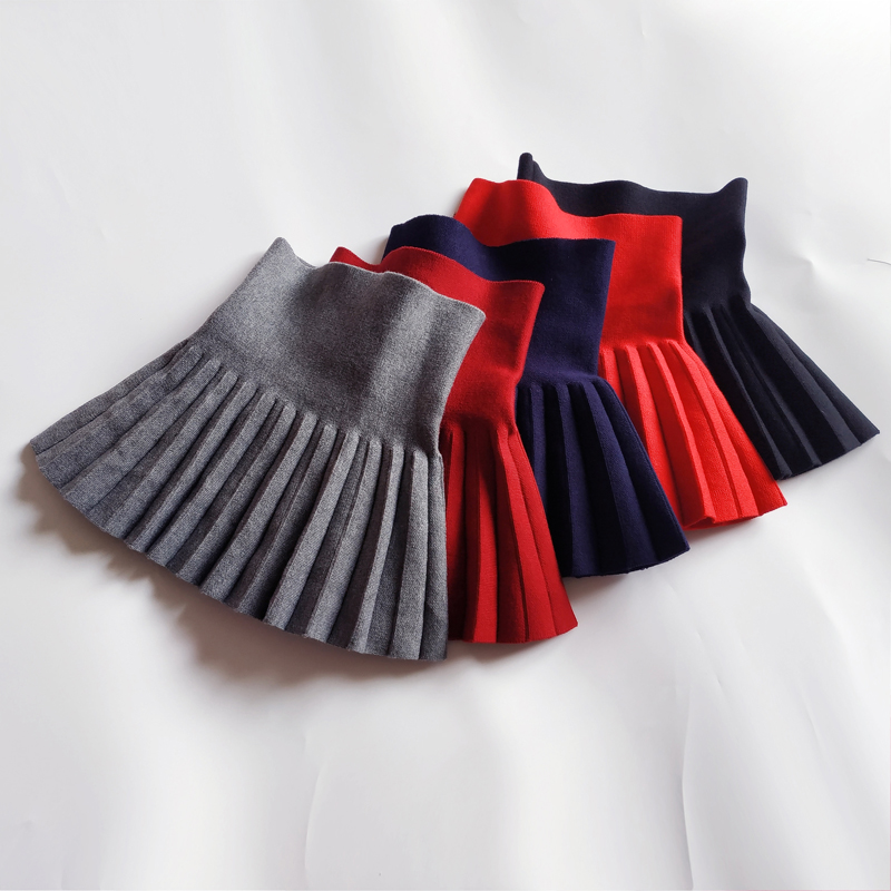 2019 Baby Toddler Girls Skirts School Girls Knit Skirt Bottoming Princess Pleated Skirts For Kids Children Clothes Kids Skirt