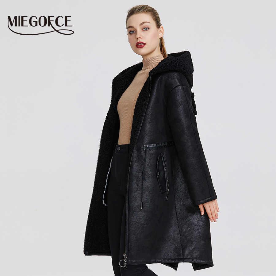 MIEGOFCE 2020 nowa zimowa damska kolekcja kurtki ze sztucznego futra długi płaszcz niezwykły Design damskiej kurtki z owczej skóry