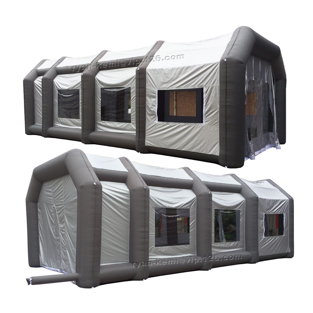 10m large Portable inflatable spray booth grey inflatable paint booth <font><b>tent</b></font> outdoor <font><b>car</b></font> <font><b>garage</b></font> mobile filter spray shelter room image