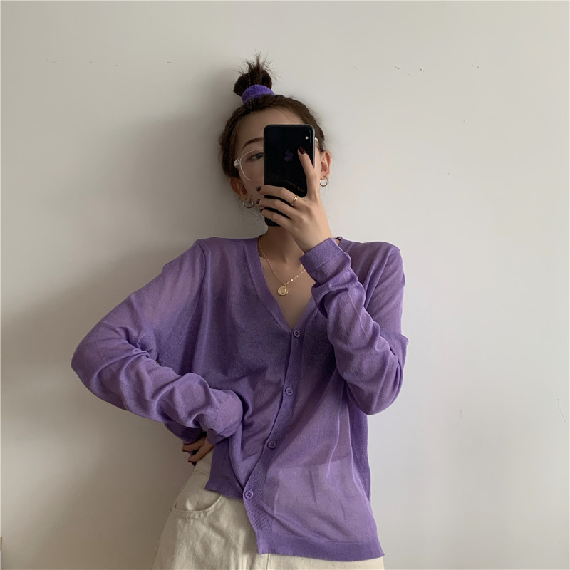 V-neck Ribbed Knit Cardigans Crop Knitted Soft Sweater For Women 2020 Summer Short Coat Sunscreen Sweater Purple Cardigan Top