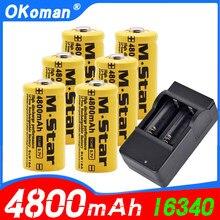 Bateria recarregável de alta capacidade 4800mah 3.7v li-ion 16340 baterias cr123a para lanterna led para cr123a bateria com carregador