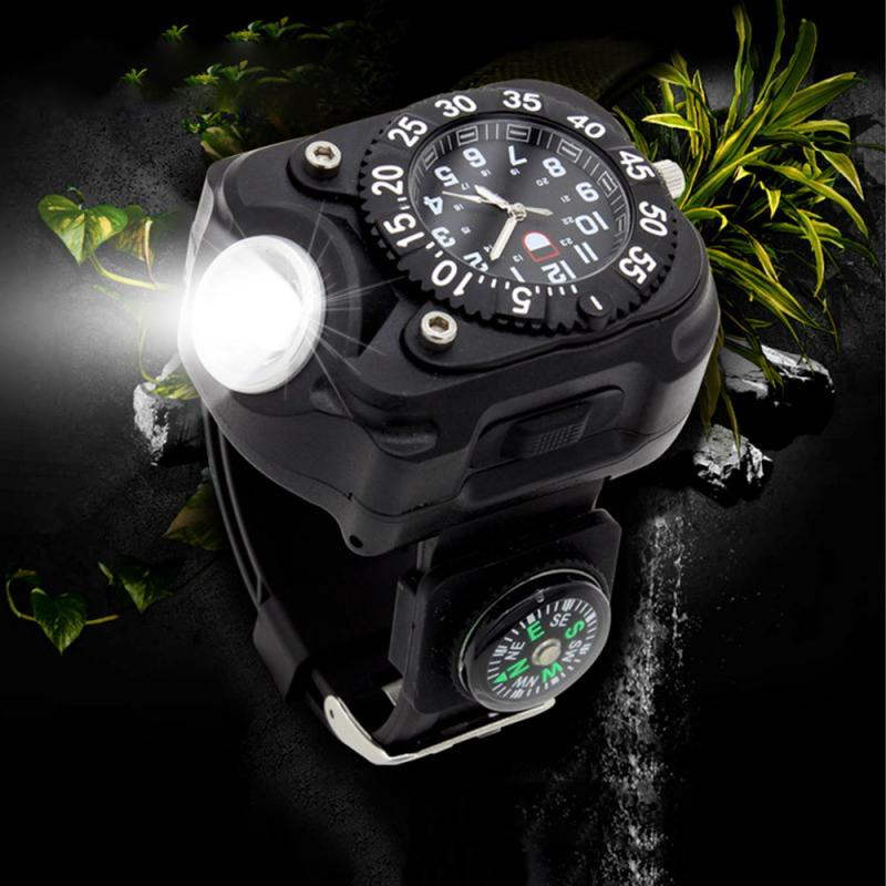 3 In 1Military Tactical Rechargeable LED Sport Wrist Watch Flashlight Compass Light Waterproof Wrist Lighting Torch Outdoor Lamp