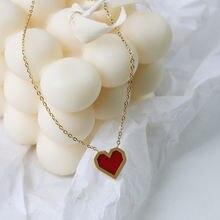 Amaiyllis 18k золотые Красные Подвески в форме сердца звеньевые