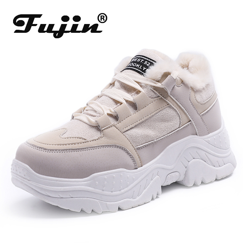 Fujin Platform Sneakers Winter Plush Casual Shoes Vulcanized Sneakers For Women Female Lace Up Spring Autumn Ladies Shoes