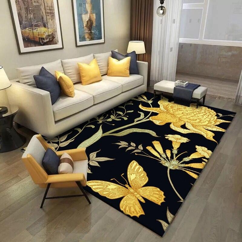 Pastoral Area Rug 3D Golden Butterfly Flowers Carpets Living Room Coffee Table Non-Slip Floor Mat Balcony Bedroom Bedside Tapete