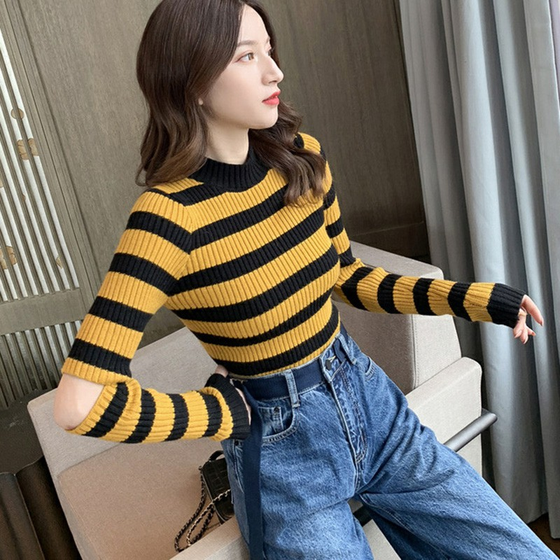 Women Spring Fashion Stripes Print Slim Long Sleeve Pullovers Female Round Collar Casual Sweaters