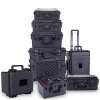 Caja de herramientas de plástico portátil, caja de herramientas de protección de seguridad a prueba de golpes, caja de instrumentos