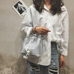 Image 4 - 2019 sommer neue JIULIN Koreanische mode tragbare transparent schulter einfachen pump diagonal eimer tasche