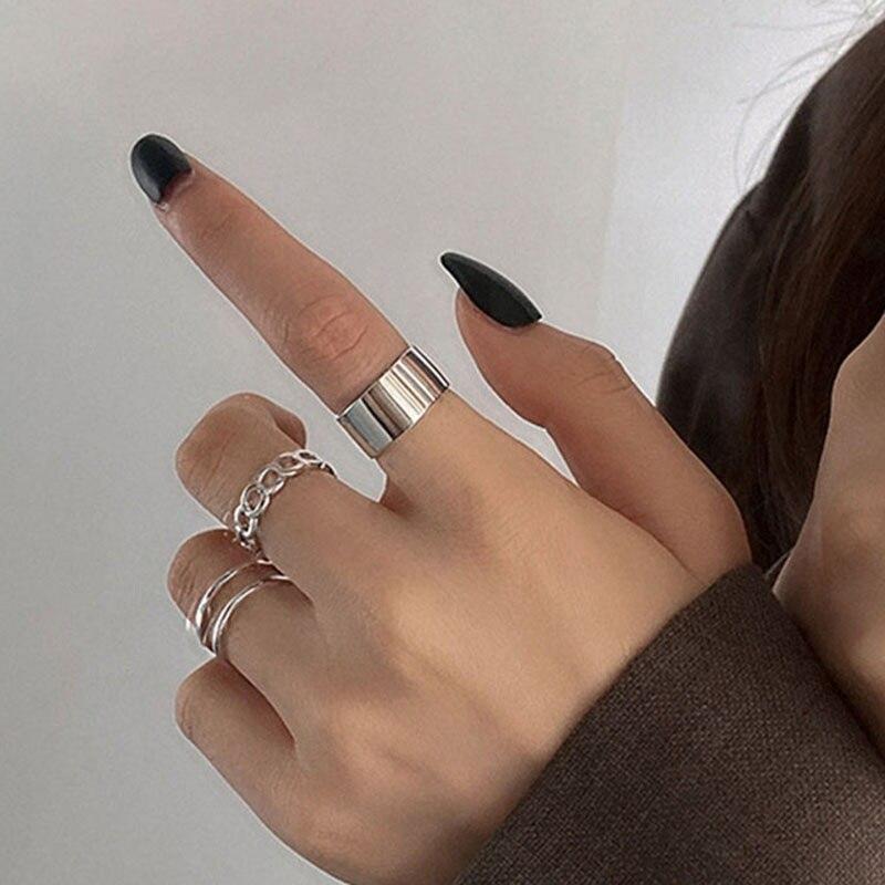 Женское кольцо в стиле хип-хоп, регулируемое кольцо в стиле ретро, 3 шт./компл.