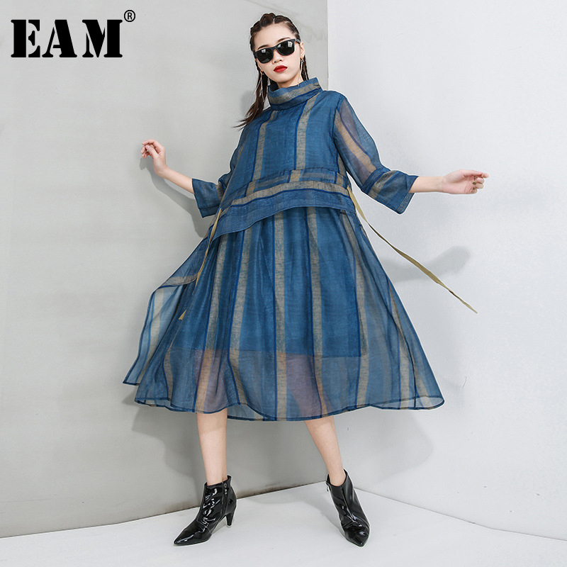 [EAM] Women Striped Perspective Mesh Split Dress New Turtleneck Three-quarter Sleeve Loose Fit Fashion Spring Autumn 2020 1T554
