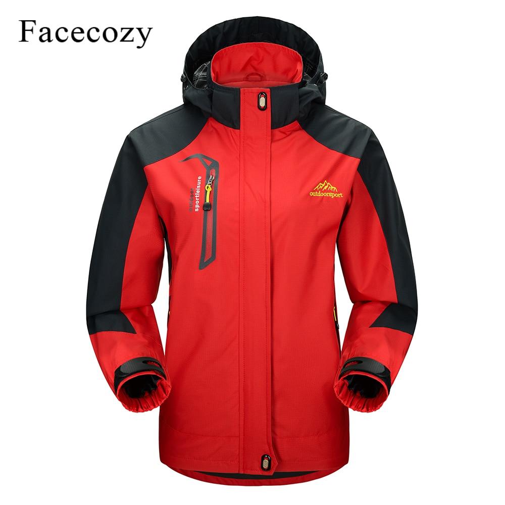 Facecozy Men Women Winter Outdoor Waterproof Hiking Jacket Sports Climbing Trekking Hooded Clothes Camping Hunting Fishing Coats