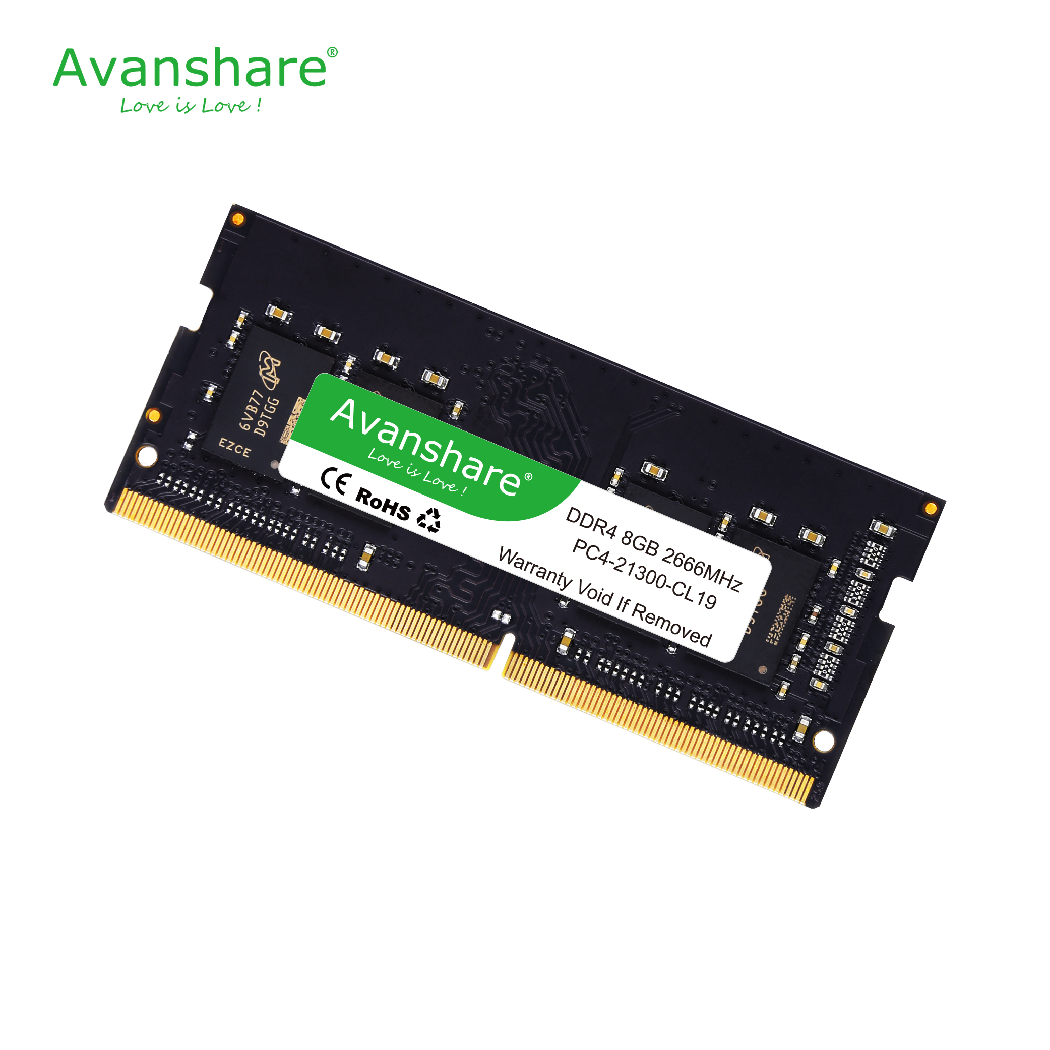 Avanshare <font><b>memoria</b></font> Ram <font><b>DDR4</b></font> 8GB 4GB <font><b>16GB</b></font> 2400mhz 2666mhz sodimm <font><b>notebook</b></font> high performance laptop memory image