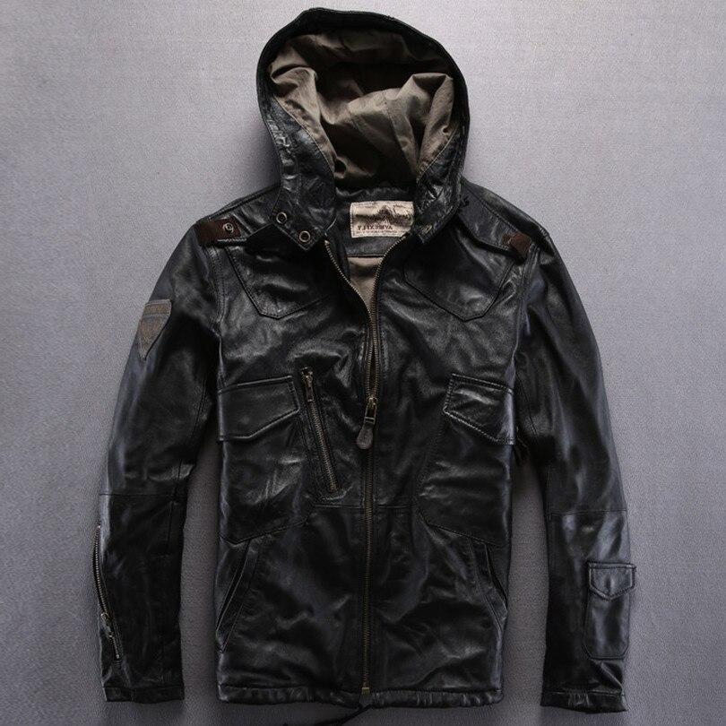 Avirex fly hooded leather green sheepskin flight black casual pilot jacket autumn outerwear men yellow brown