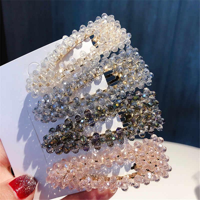 Horquilla de perlas de cristal de moda para mujer Barrettes horquilla geometría Triangular cuadrado Color rojo Clip de pelo accesorios de Metal para el cabello