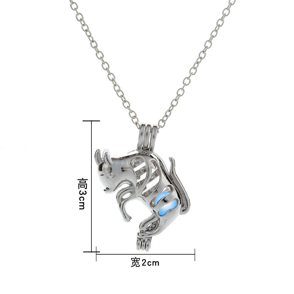 Yeni cadılar bayramı takı gümüş renk keçi şeklinde madalyon kolye Glow karanlık gerdanlık uzun kolye Unisex hediye