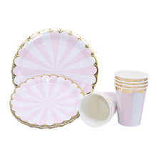 8Pcs Gold Pink Striped Disposable Party Tableware Paper Plate Cup Napkin For Wedding Birthday Party Baby Shower Party Supplies gold dot disposable tableware set cup plate napkin banner baby 1st birthday party decor baby shower girl party supplies